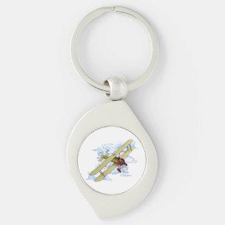 Vintage Biplane Flying Keychain