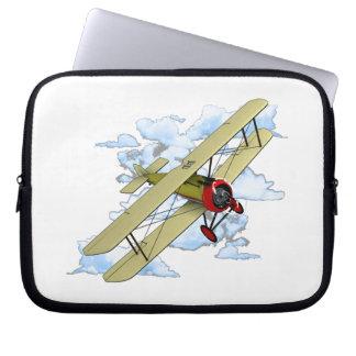 Vintage Biplane Flying Laptop Sleeve