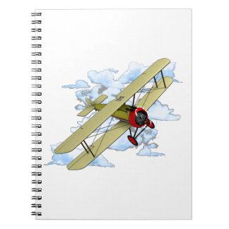 Vintage Biplane Flying Notebook