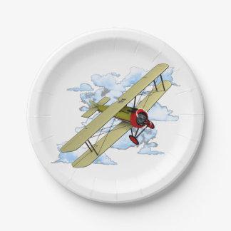 Vintage Biplane Flying Paper Plate