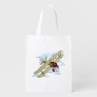 Vintage Biplane Flying Reusable Grocery Bag