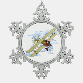 Vintage Biplane Flying Snowflake Pewter Christmas Ornament