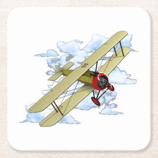 Vintage Biplane Flying Square Paper Coaster