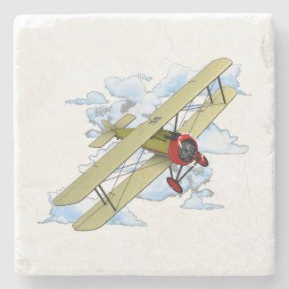 Vintage Biplane Flying Stone Coaster