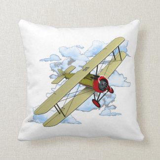 Vintage Biplane Flying Throw Pillow