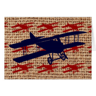 Vintage Biplane Propeller Airplane on Burlap Print Card