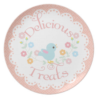 Vintage Bird and Flowers Delicious Treats Party Plates