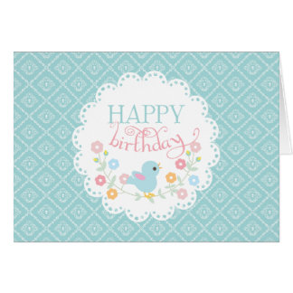Vintage Bird and Flowers Happy Birthday Greeting Card