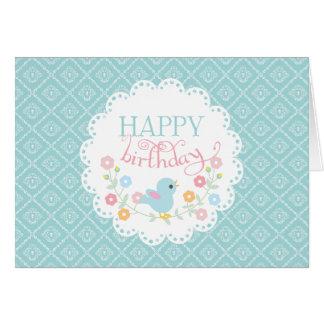 Vintage Bird and Flowers Happy Birthday Greeting Card