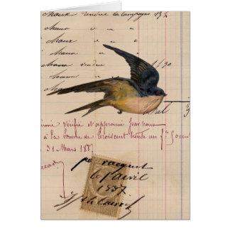 Vintage Bird and Ledger Paper Digital Art Card