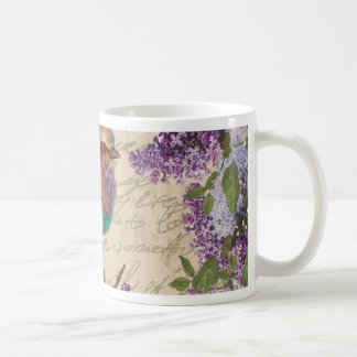 Vintage bird and lilac coffee mug