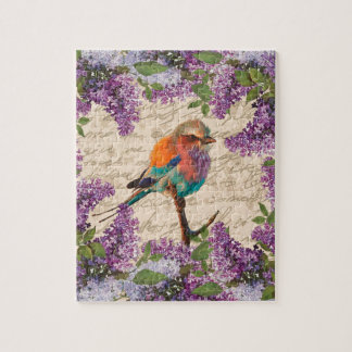 Vintage bird and lilac jigsaw puzzle