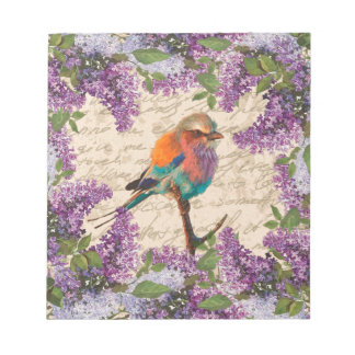 Vintage bird and lilac notepads