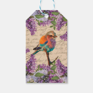 Vintage bird and lilac pack of gift tags