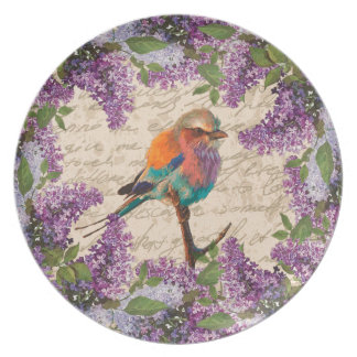 Vintage bird and lilac plate