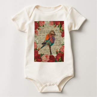Vintage bird baby bodysuit