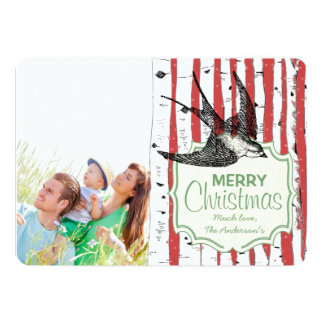 Vintage Bird Birch Tree Photo Christmas Card