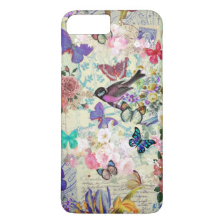 Vintage bird butterflies blush pink floral collage iPhone 8 plus/7 plus case