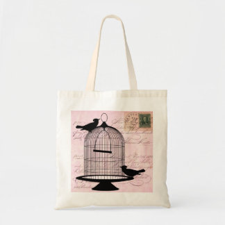 Vintage Bird Cage and Postcard Tote Bag