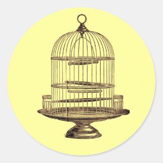Vintage Bird Cage Classic Round Sticker