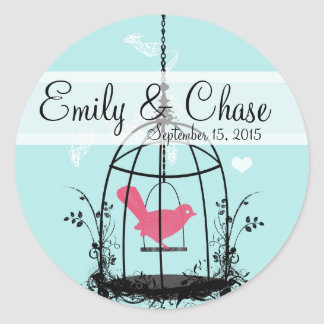 Vintage Bird Cage Musical Love Bird Weddings Round Sticker