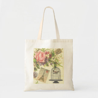 Vintage Bird Cage, Postcards, and Rose Tote Bag