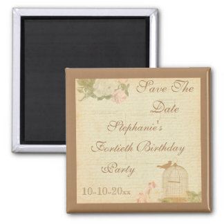 Vintage Bird Cage & Roses 40th Birthday Square Magnet