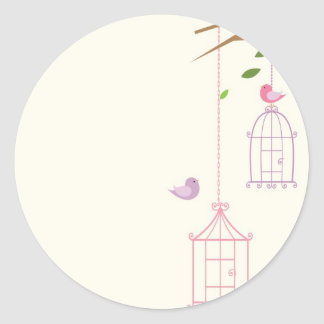 Vintage Bird Cage Round Envelope Stickers