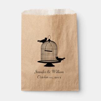 Vintage Bird Cage Wedding Favor Bag