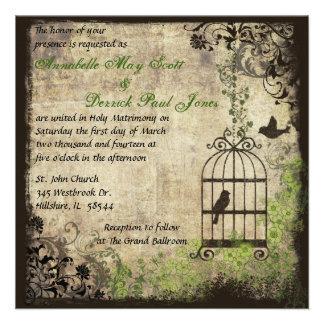 Vintage Bird Cage Wedding Invitation
