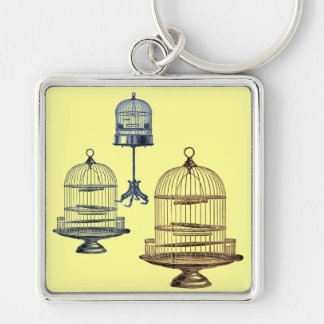 Vintage Bird Cages Silver-Colored Square Keychain