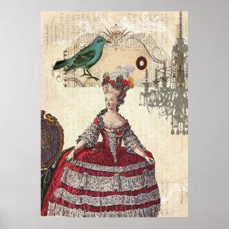 Vintage Bird Chandelier Boutique Marie Antoinette Poster