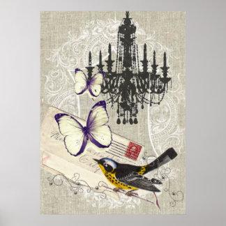 vintage Bird  chandelier chic  Paris Print