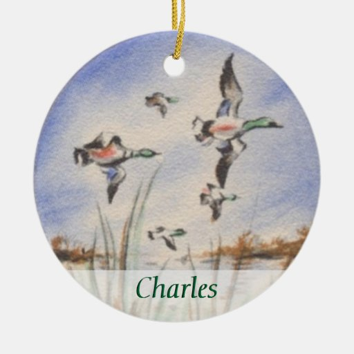 Vintage Bird Dog Duck Hunter Personalized Christmas Ornaments
