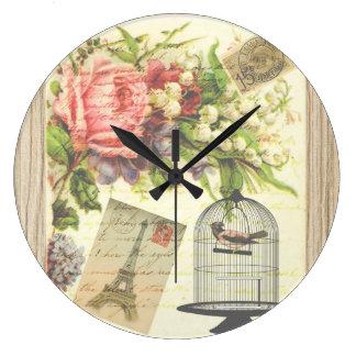 Vintage Bird Floral French Paris Eiffel Tower Large Clock