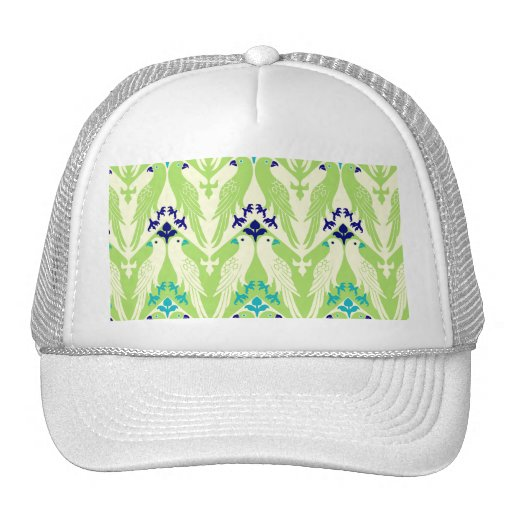 Vintage Bird & Floral Pattern in Green Mesh Hat