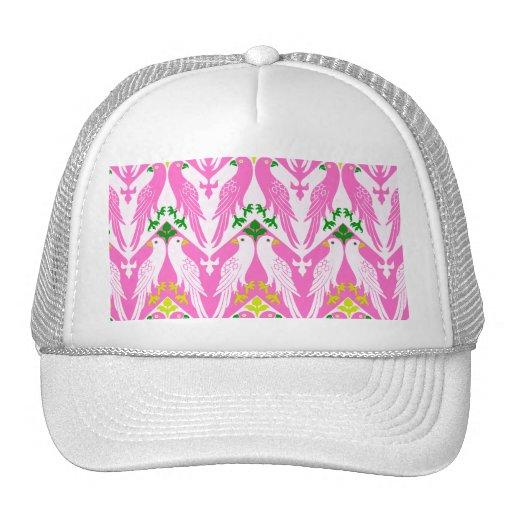 Vintage Bird & Floral Pattern in Pink Mesh Hats