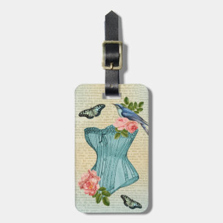 Vintage bird, flower & butterfly luggage tag
