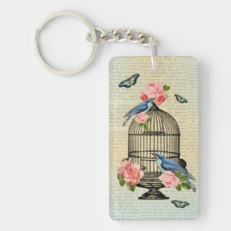 Vintage bird & flower feminine & girly keychain