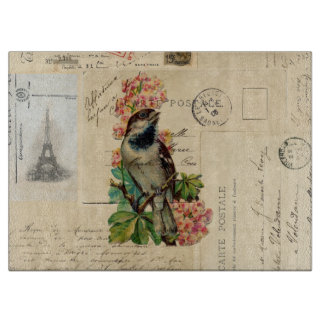 Vintage Bird Flowers French Postcards Boards
