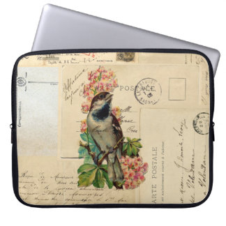Vintage Bird Flowers French Postcards Laptop Sleev Laptop Sleeve