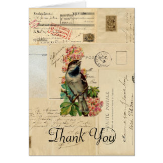 Vintage Bird Flowers French Thank You Card