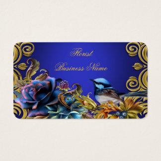 Vintage Bird Gold Flowers Bluebird Bird Blue Business Card