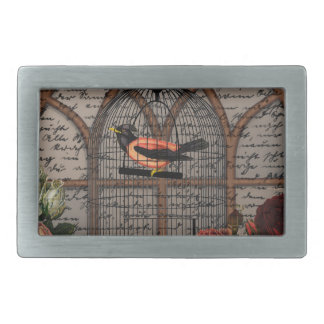 Vintage bird in the cage belt buckle