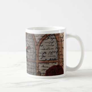 Vintage bird in the cage coffee mug
