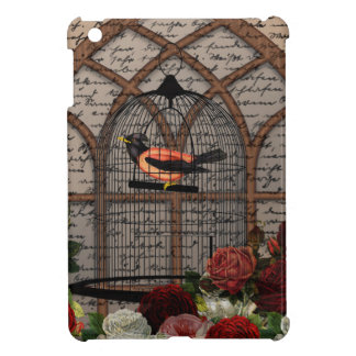 Vintage bird in the cage cover for the iPad mini