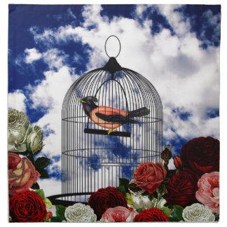 Vintage bird in the cage napkin