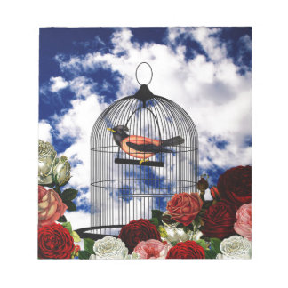 Vintage bird in the cage notepad