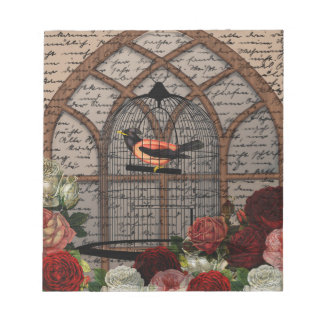 Vintage bird in the cage notepads