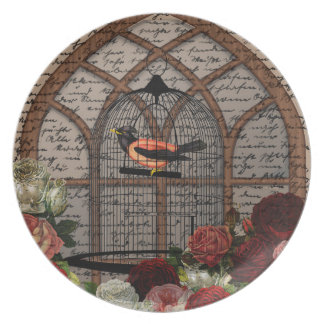 Vintage bird in the cage plate